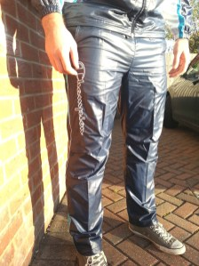 Men's Champion Shiny Tracksuit Bottoms Front