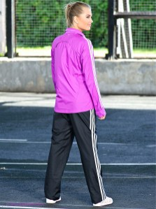 Shiny Adidas Performance Tracksuit Black and Pink Rear View
