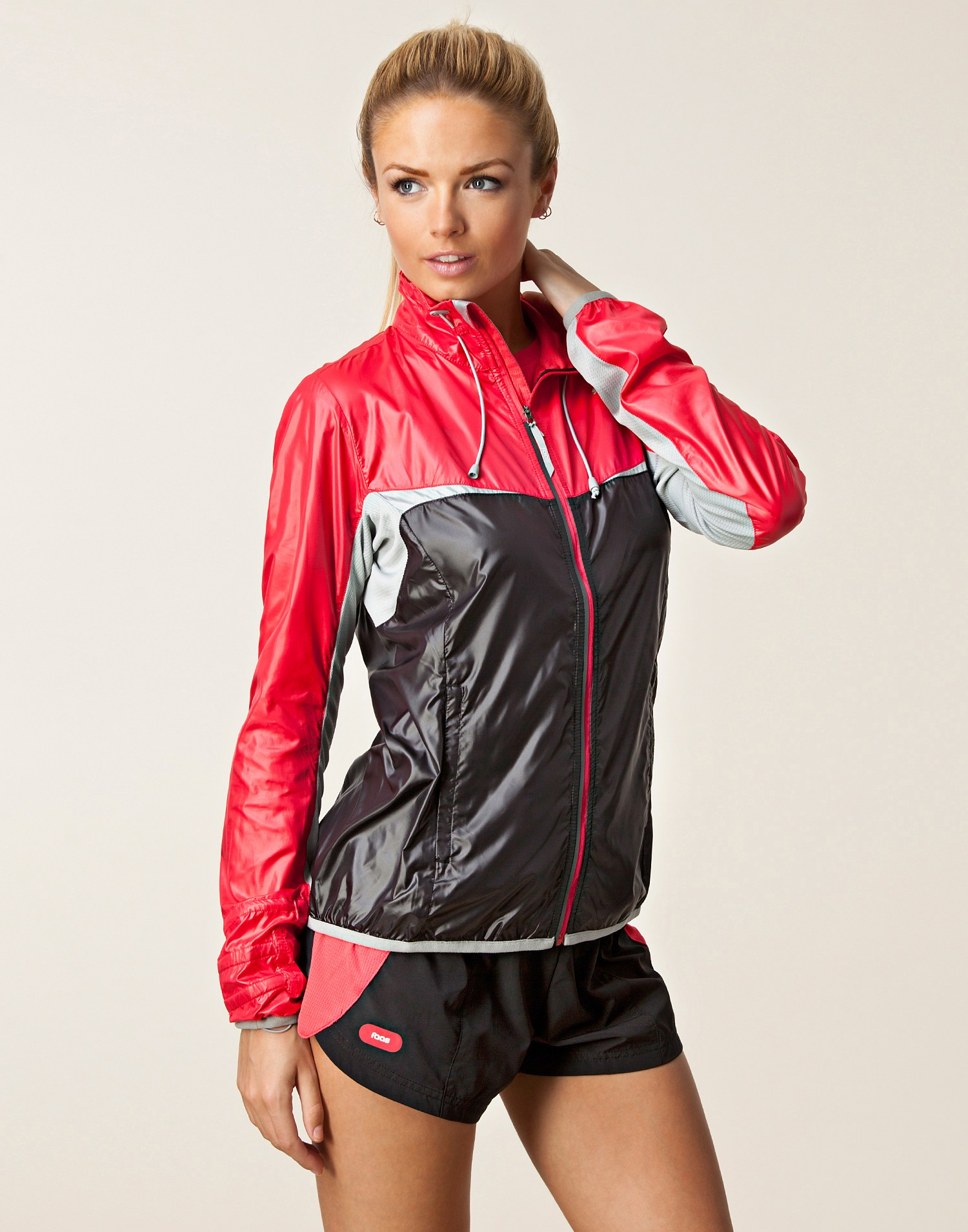 Black and Red Shiny Puma Jacket Front View