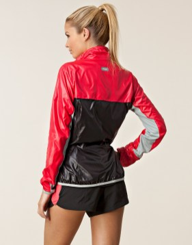 Black and Red Shiny Puma Jacket Back View