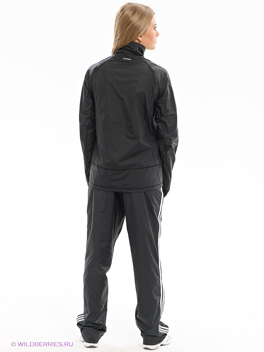 Shiny Adidas Performance Tracksuit in Black Rear View