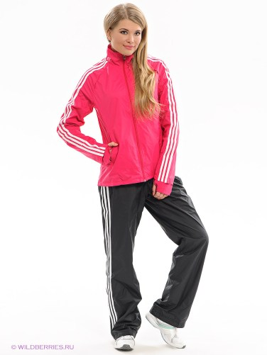 Shiny Adidas Performance Tracksuit Red and Black Front View