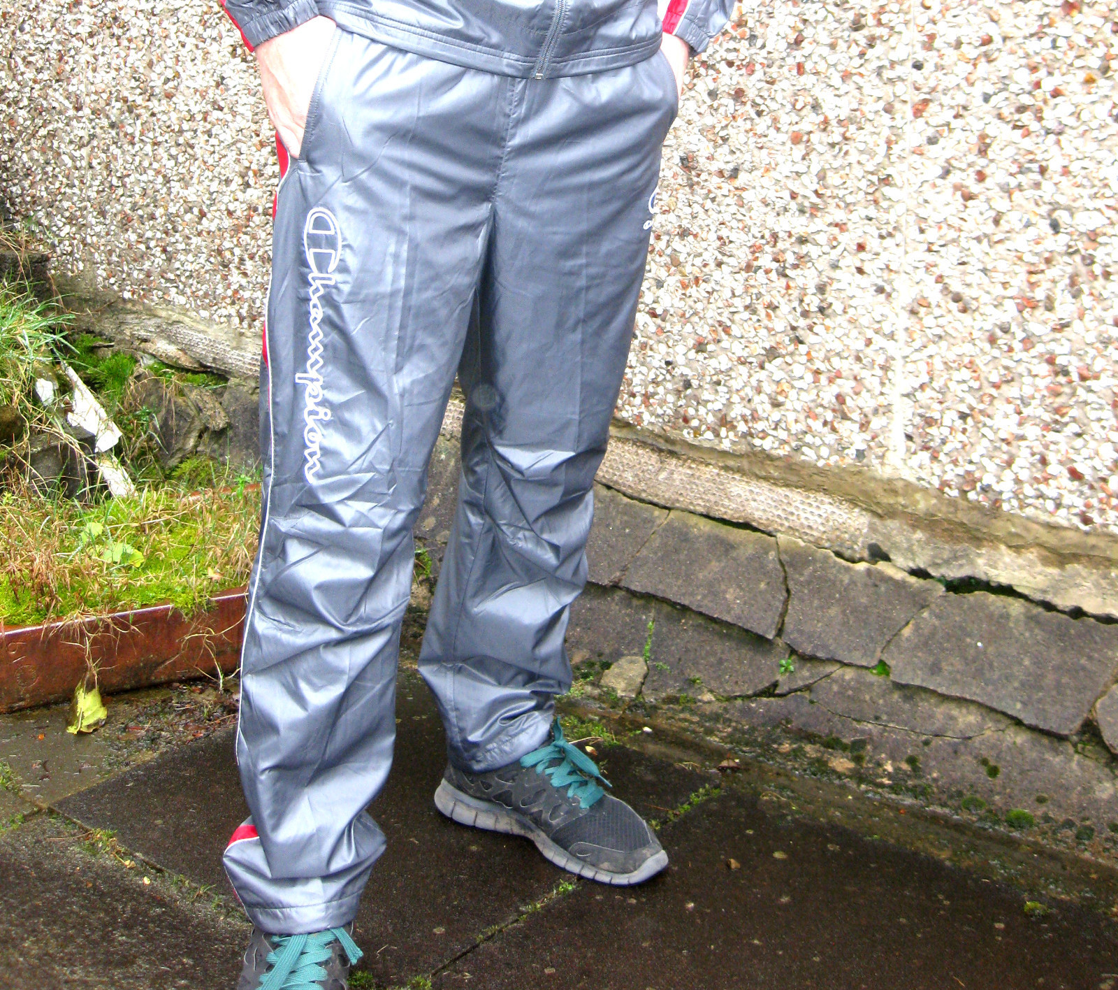 Shiny Champion Trackpants in Gray Front Shot