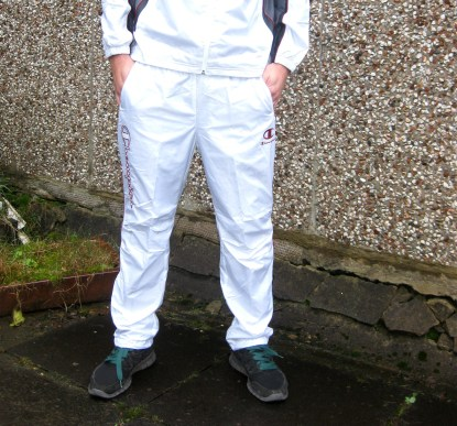 Shiny Champion Trackpants Full Frontal in White