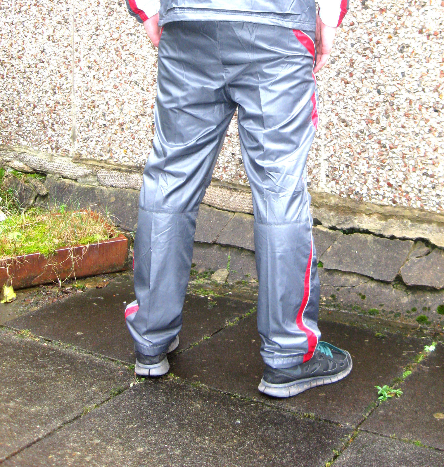 Shiny Champion Trackpants in Gray Rear View