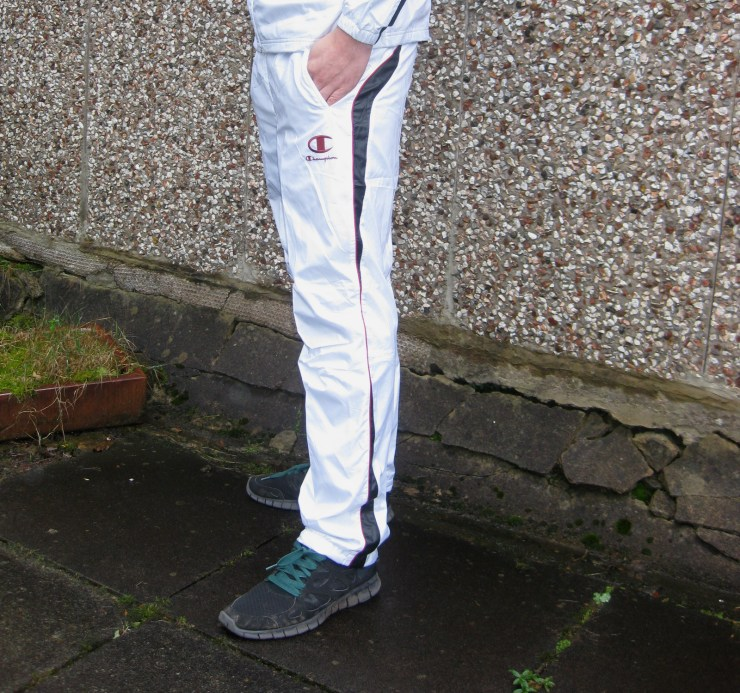 Shiny Champion Trackpants in White Side View