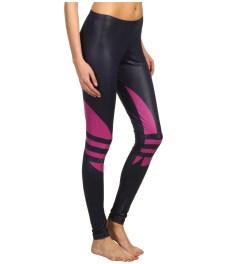 Shiny Adidas Liquid Leggings Black & Pink Side Shot