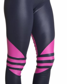 Shiny Adidas Liquid Leggings Black & Pink Close Up Side