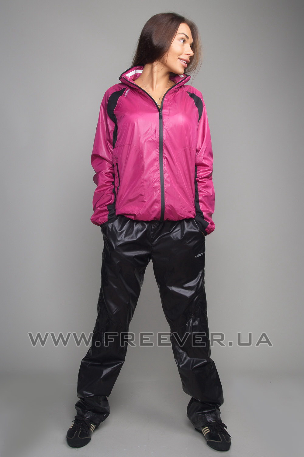 Black and Pink Shiny Tracksuit from Adidas