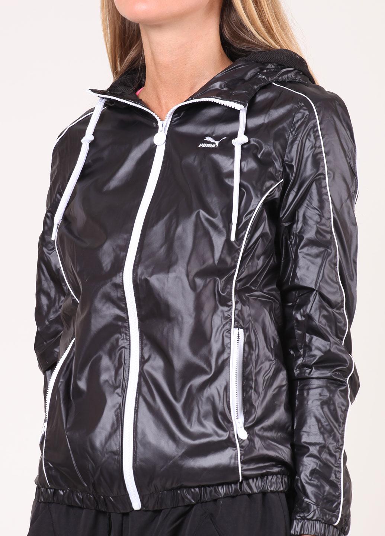 Shiny Black Puma Jacket Front View