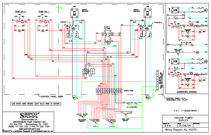 3 phase water pump control panel wiring diagram 1991 volvo 240 stereo colors & symbols - literature cad library shipco pumps®