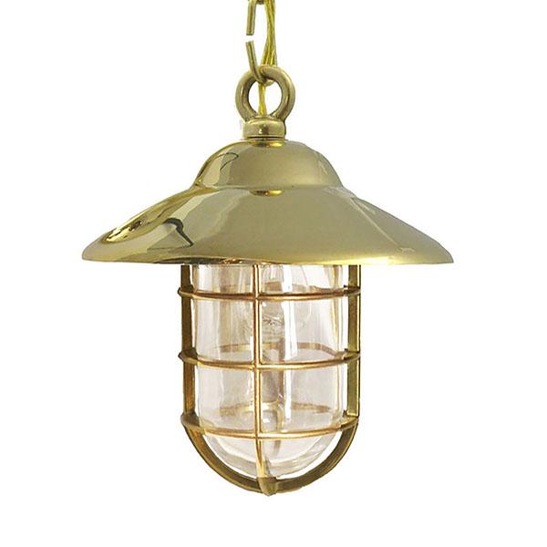 Shiplights Bulkhead Chain Pendant in Unlacquered Brass (C-3)Shiplights Bulkhead Chain Pendant in Unlacquered Brass (C-3)