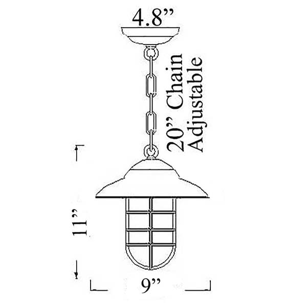 Shiplights Bulkhead Chain Pendant Diagram (C-3)