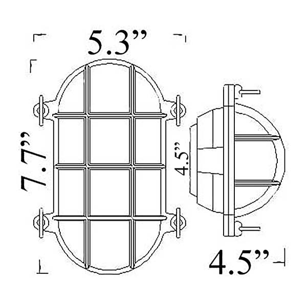 Oval Cage Bulkhead Sconce Diagram (O-1)
