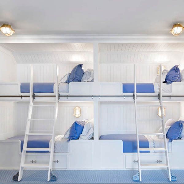 Nautical Bunk Beds with Oval Bulkhead Lights by Shiplights