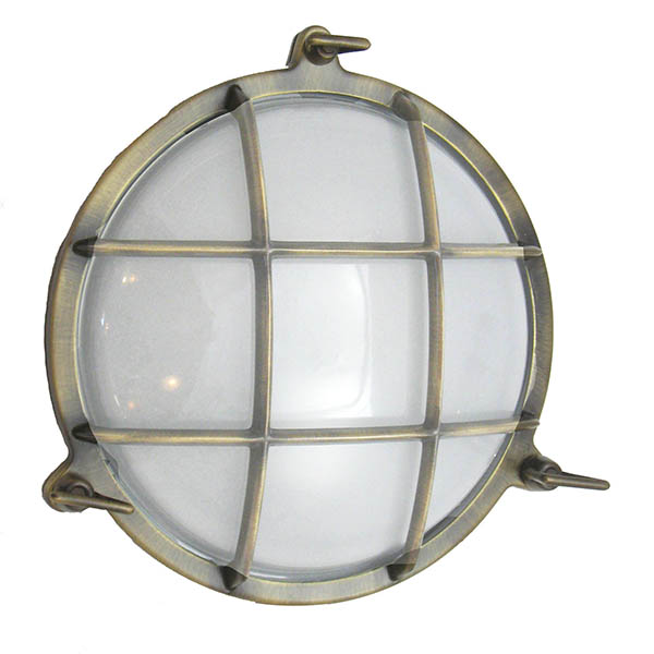 Brass Nautical Clamshell Light - Antique Brass by Shiplights (R-1)