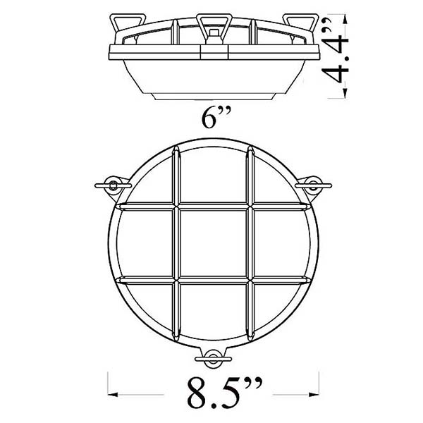 Round Bulkhead Sconce Diagram by Shiplights (R-1)