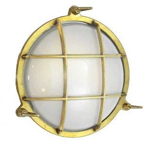 Solid Brass Round Cage Bulkhead Light