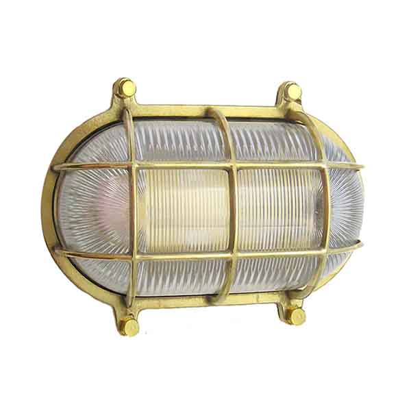 Solid Brass Oval Bulkhead Cage Sconce (WF-2) by Shiplights