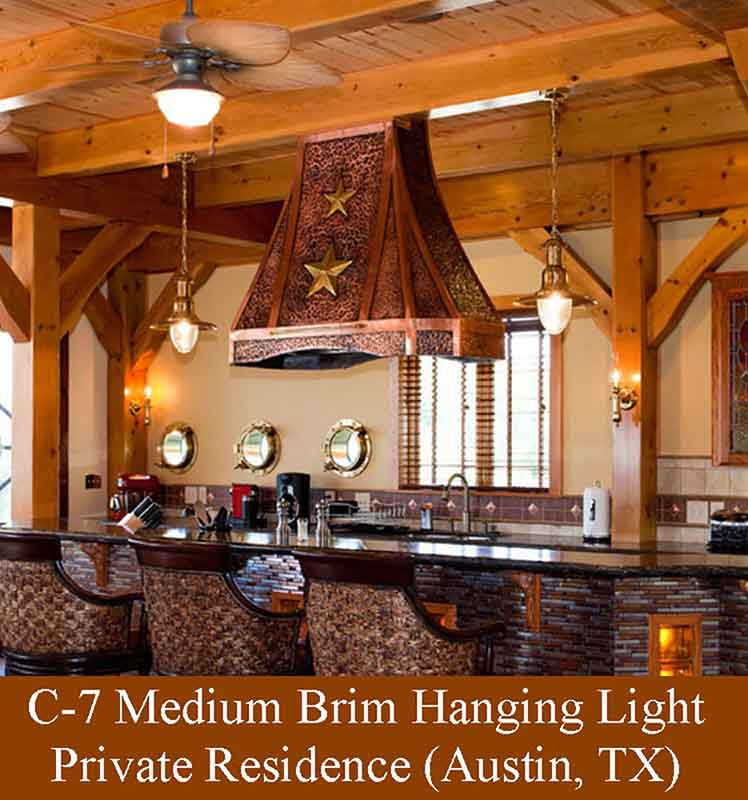 Medium Brim Hanging Light in Austin, TX Kitchen