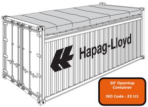 20' Open Top (Tarpaulin) Container