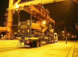 Namsung Shipping load excavators on Super Rack