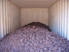 lumpy chrome loaded in bulk in the container