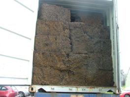 cubed steel wire scrap packed in a container