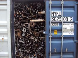 loose metal scrap packed in a container