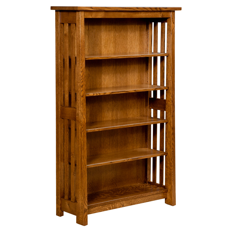 Freemont Mission Open Bookcase  Amish Wine Cabinets