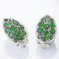 Ladies Shipton and Co Silver Green Fire Diopside Pave ...