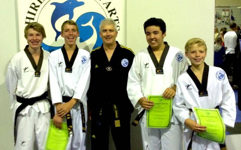 2014: 2nd Dan Black belts Nathan, Tom, Michael & Sam