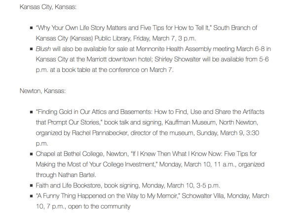 Kansas Book Tour March 6-11