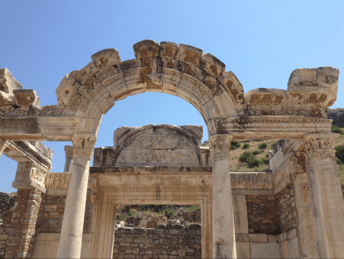 Selçuk, Turkey, ruins offer arches around every corner. Temple of Hadrian.