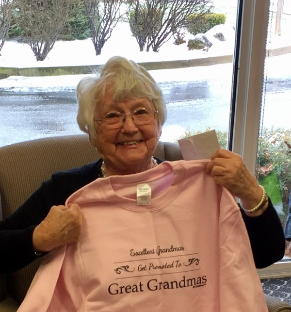"""The shirt reads, """"When you are an excellent grandma, you get promoted to Great Grandma."""