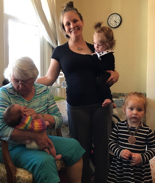 Barbara Ann with baby Lydia Ann, Joyous with Kenny and Nightingale.