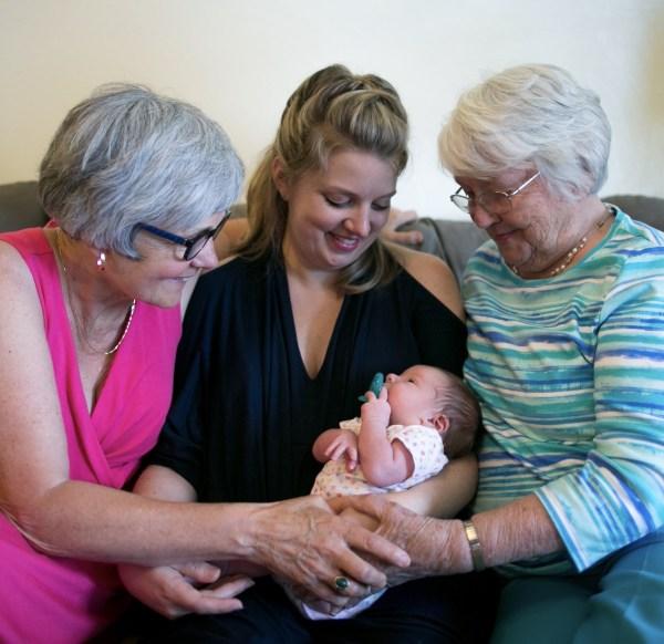 Four generations of Anns: Barbara Ann (r), Shirley Ann (l), Katherine Ann and baby Lydia Ann (center)