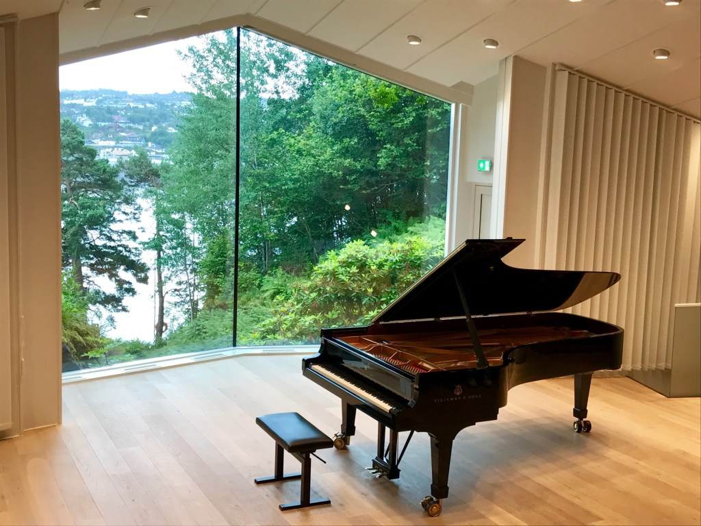 "The concert hall at the Grieg museum -- the home of the composer in the setting of his ""hut."""