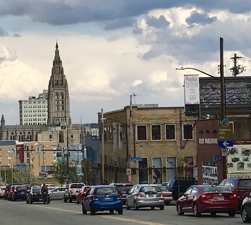 Penn Avenue and Fairmount, looking toward East Liberty Presbyterian Church.