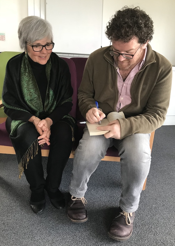 Pádraig signs my copy of his book, In the Shelter: Finding a Home in the World