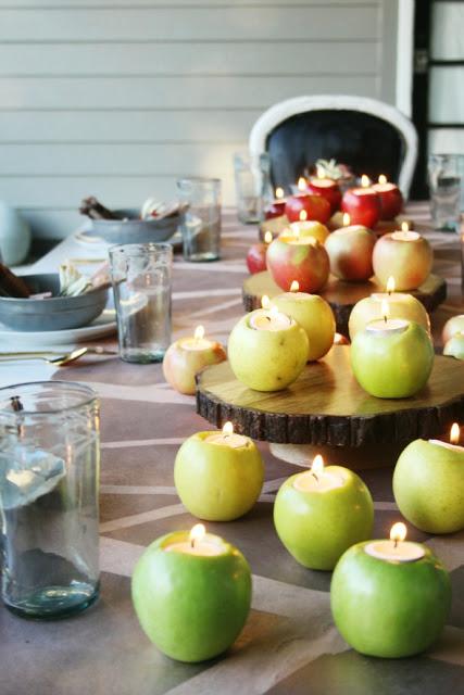 קישוטים לראש השנה - תפוחים כפמוטים לנרות - החיים לפי שירלי