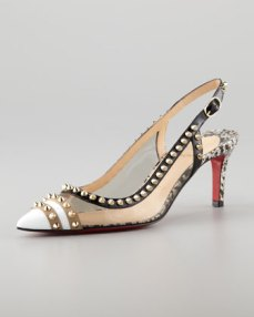 Christian Louboutin – Manovra Translucent & Studded Patent Leather Slingback