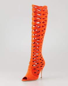 Brian Atwood – Electra Suede Laser-Cut Open-Toe Boot