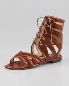 Manolo Blahnik – Vestalamod Suede Gladiator Sandal, Luggage
