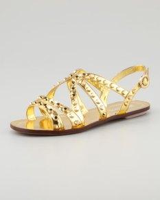 Prada – Studded Strappy Flat Sandal, Gold