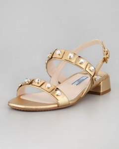 Prada Jeweled Double-Strapped Sandal