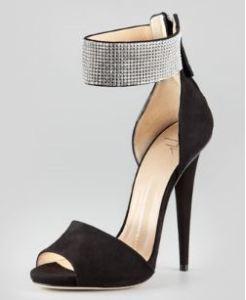 Giuseppe Zanotti – Suede Crystal-Cuff Sandal in Black