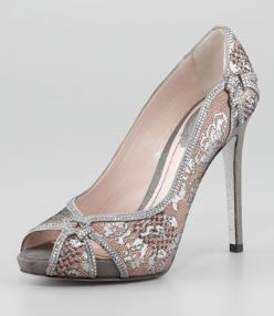 Rene Caovilla – Crystl-Trim Lace Platform Pump in Silver