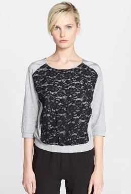 Nina Ricci Lace & Jersey Sweatshirt