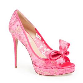 Valentino Lace Couture Bow Open Toe Pump